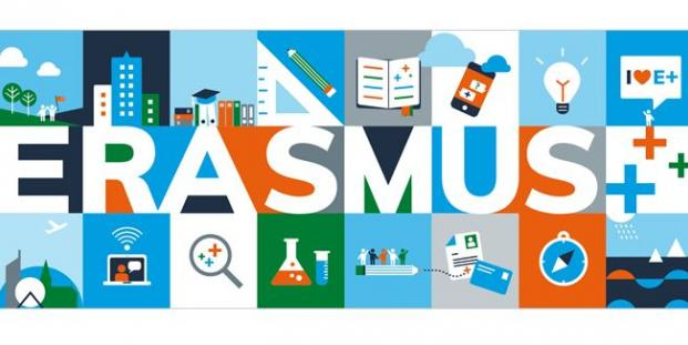 Erasmus+, the picture displays various facets (nature, science, etc.)
