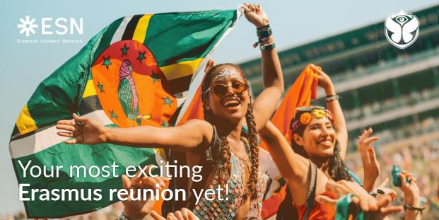 happy people with a flag; text: your most exciting Erasmus reunion yet
